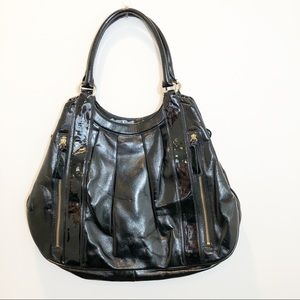 Ann Taylor black patent leather tote